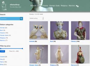 Greek statues at eStatueShop website